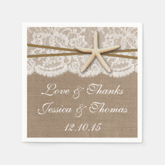 The Rustic Starfish Beach Wedding Collection Disposable Napkin