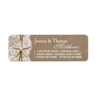 The Rustic Starfish Beach Wedding Collection Return Address Label
