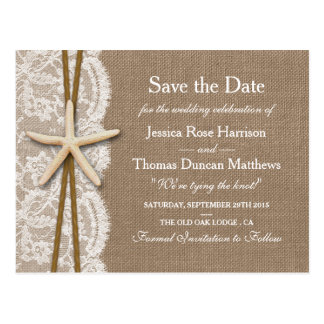 The Rustic Starfish Collection Save The Date Postcard