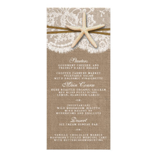 The Rustic Starfish Wedding Collection Menu Cards Personalized Rack Card