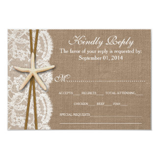 The Rustic Starfish Wedding Collection RSVP 9 Cm X 13 Cm Invitation Card