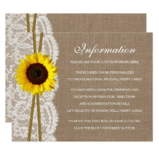The Rustic Sunflower Wedding Collection Detail Card
