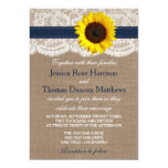 The Rustic Sunflower Wedding Collection - Navy 13 Cm X 18 Cm Invitation Card