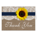The Rustic Sunflower Wedding Collection - Navy Note Card