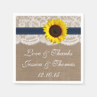 The Rustic Sunflower Wedding Collection - Navy Paper Napkin