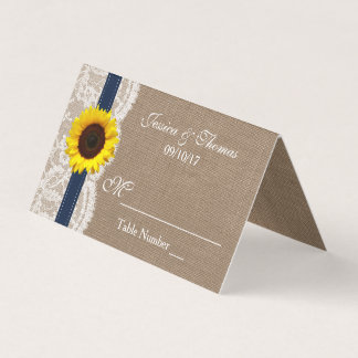 The Rustic Sunflower Wedding Collection - Navy Place Card