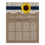 The Rustic Sunflower Wedding Collection - Navy Poster