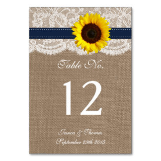 The Rustic Sunflower Wedding Collection - Navy Table Card