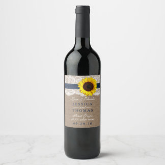 The Rustic Sunflower Wedding Collection - Navy Wine Label