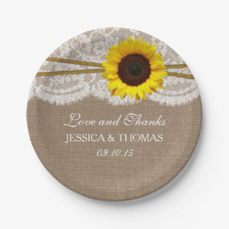 The Rustic Sunflower Wedding Collection Paper Plate