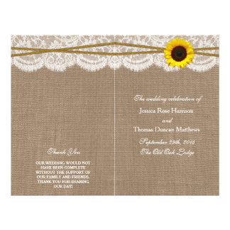 The Rustic Sunflower Wedding Collection Programs 21.5 Cm X 28 Cm Flyer