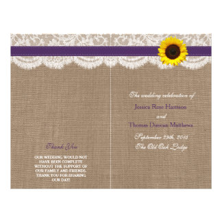 The Rustic Sunflower Wedding Collection - Purple 21.5 Cm X 28 Cm Flyer