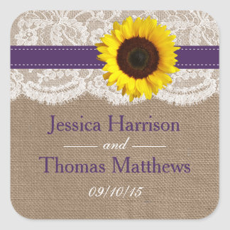 The Rustic Sunflower Wedding Collection - Purple Square Sticker