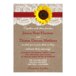 The Rustic Sunflower Wedding Collection - Red 13 Cm X 18 Cm Invitation Card
