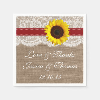 The Rustic Sunflower Wedding Collection - Red Disposable Napkin