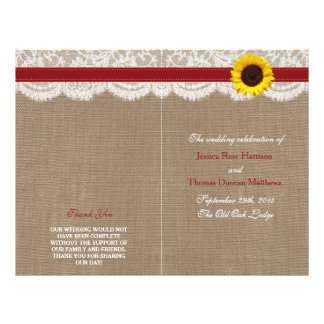 The Rustic Sunflower Wedding Collection - Red 21.5 Cm X 28 Cm Flyer
