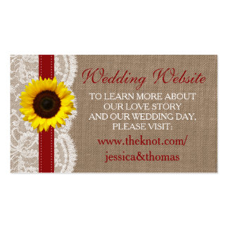 The Rustic Sunflower Wedding Collection - Red Pack Of Standard Business Cards