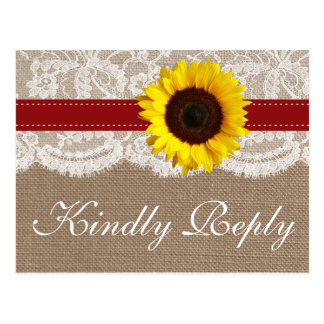 The Rustic Sunflower Wedding Collection - Red Postcard