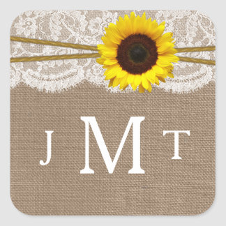 The Rustic Sunflower Wedding Collection Seals Square Sticker