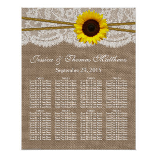 The Rustic Sunflower Wedding Collection Seating Poster