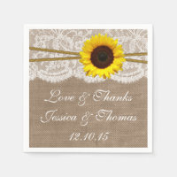The Rustic Sunflower Wedding Collection Standard Cocktail Napkin