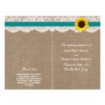 The Rustic Sunflower Wedding Collection - Teal 21.5 Cm X 28 Cm Flyer