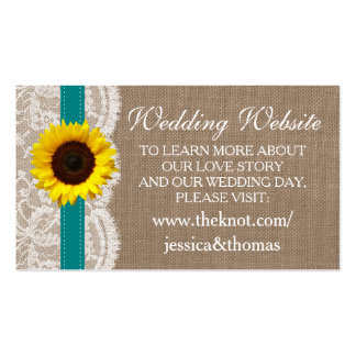 The Rustic Sunflower Wedding Collection - Teal Pack Of Standard Business Cards