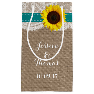 The Rustic Sunflower Wedding Collection - Teal Small Gift Bag