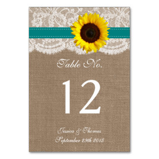 The Rustic Sunflower Wedding Collection - Teal Table Cards