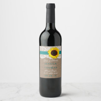 The Rustic Sunflower Wedding Collection - Teal Wine Label