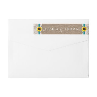 The Rustic Sunflower Wedding Collection - Teal Wrap Around Label