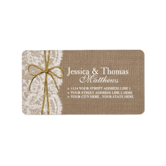 The Rustic Twine Bow Wedding Collection Address Label