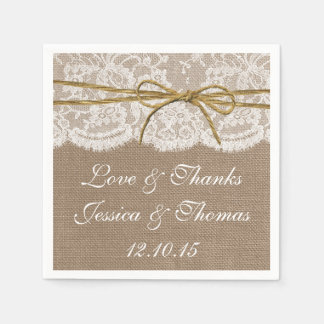 The Rustic Twine Bow Wedding Collection Disposable Serviette