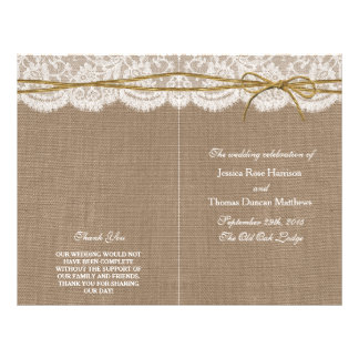 The Rustic Twine Bow Wedding Collection - Programs 21.5 Cm X 28 Cm Flyer