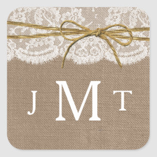 The Rustic Twine Bow Wedding Collection Square Sticker