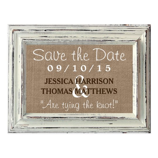 The Rustic White Frame & Burlap Wedding Collection Postcard