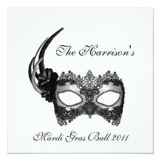 """""""The ______'s Mardi Gras Ball 2011"""" 5.25x5.25 Square Paper Invitation Card"""