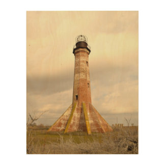 The Sabine Pass Lighthouse in Winter Wood Wall Decor