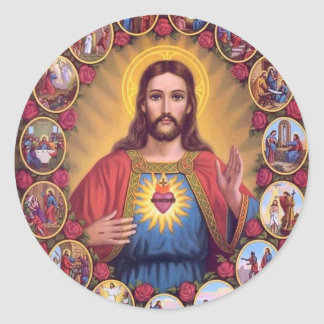 The Sacred Heart Of Jesus Round Sticker