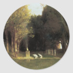 The Sacred Wood, 1882, Arnold Bocklin Round Stickers