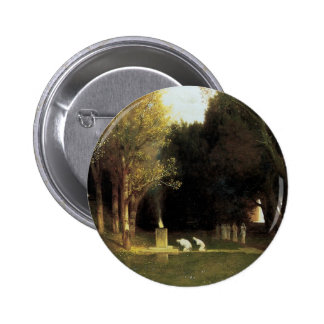 The Sacred Wood by Arnold Bocklin, Vintage Art 6 Cm Round Badge