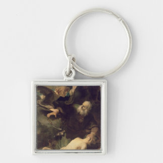 The Sacrifice of Abraham, 1635 Silver-Colored Square Key Ring