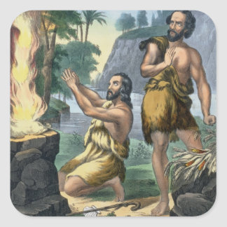 The Sacrifice of Cain and Abel, from a bible print Square Sticker