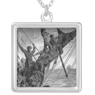 The sailors see in the distance a ghostly ship silver plated necklace