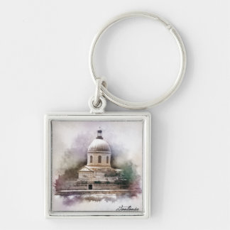 The Saint-Pierre Basilica of Toulouse Silver-Colored Square Key Ring