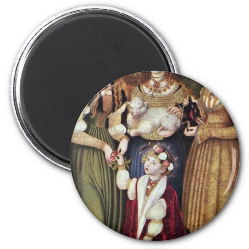 The Saints Agnes And Dorothy Kunigunde By Cranach Refrigerator Magnet