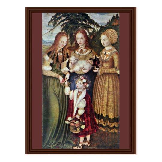 The Saints Agnes And Dorothy Kunigunde By Cranach Postcard