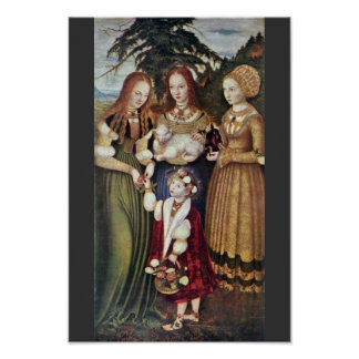 The Saints Agnes And Dorothy Kunigunde By Cranach Poster