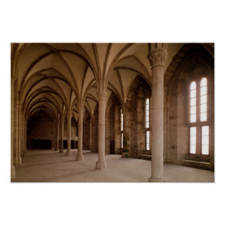 The Salle des Hotes, interior view of the Abbey Poster
