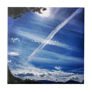 The Saltire in the Sky Small Square Tile